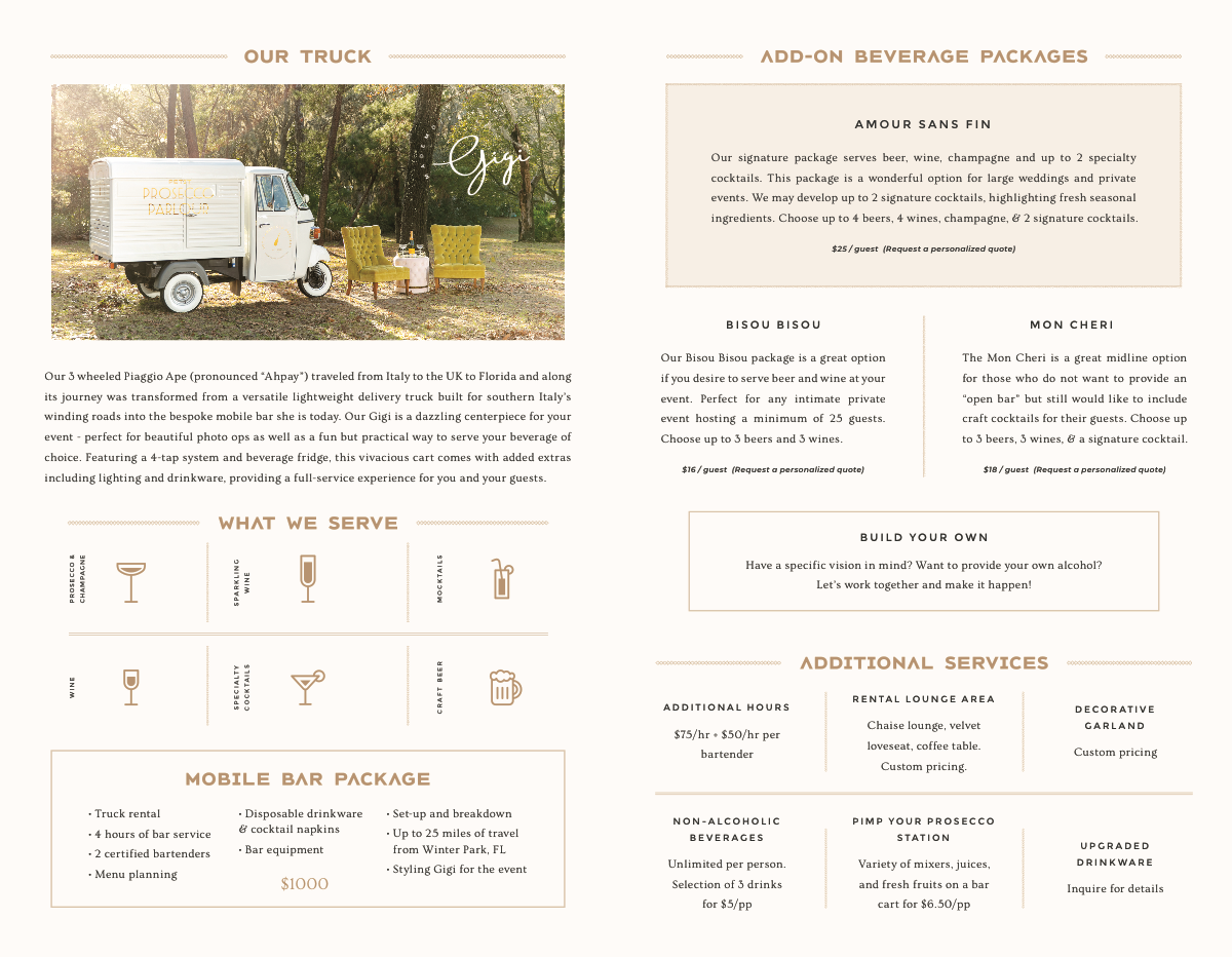Petit Prosecco Parlour Bi-Fold Brochure