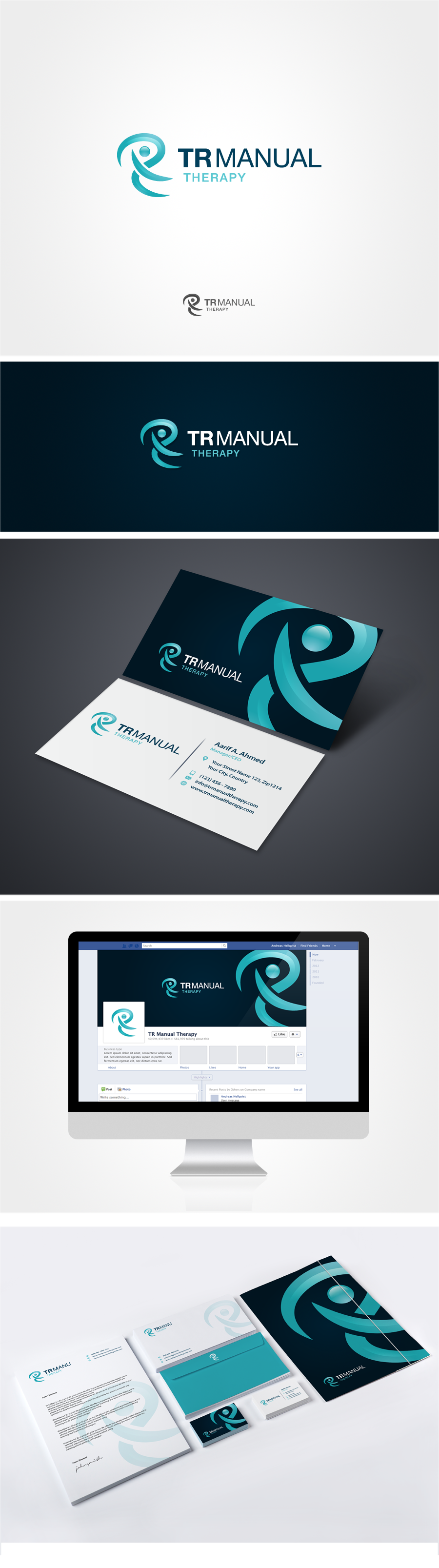 Create a captivating modern brand for a healthcare company TR Manual Therapy
