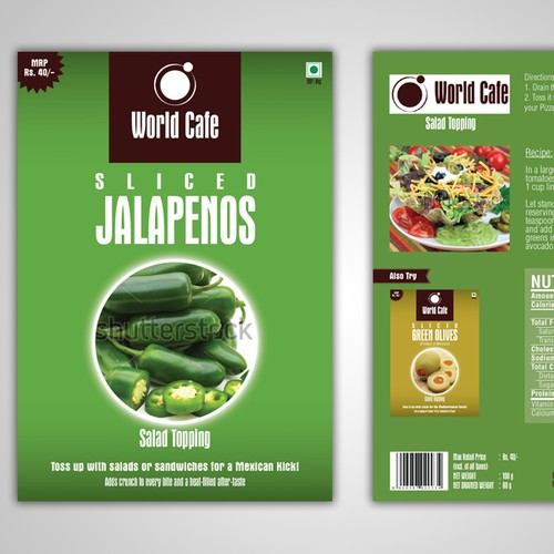 Product Label for 'World Cafe' - Salad Toppings