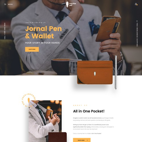 A Journal Pen and Wallet Product Website