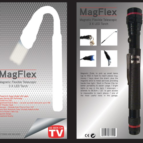 Create a fantastic looking high quality packing card for the new MagFlex Torch