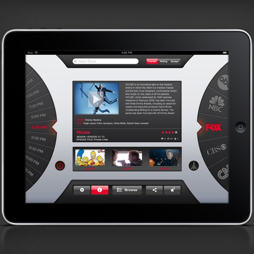 UI design mockup for new iPad app!