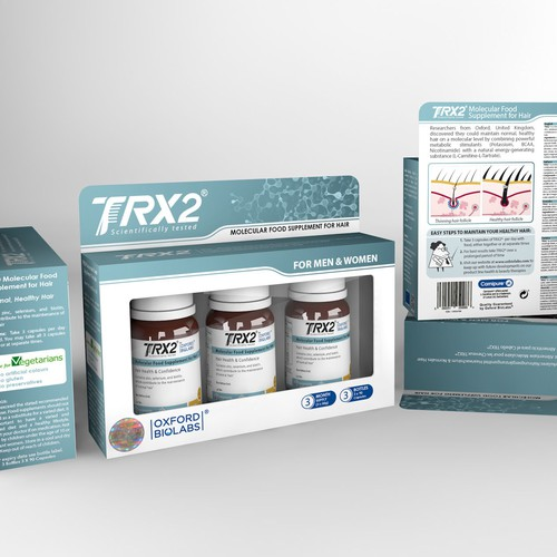 Premium outer packaging design for line of novel food supplements