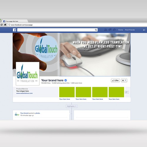 Create an attractive Facebook Cover for a reliable translation company that focuses on quality