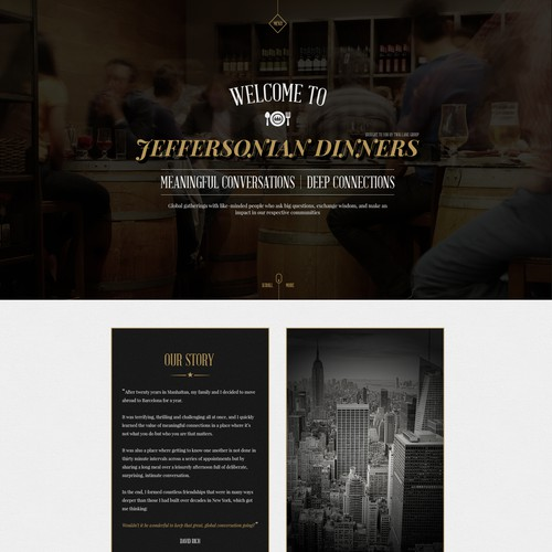 Homepage design for Jeffersonian Dinner