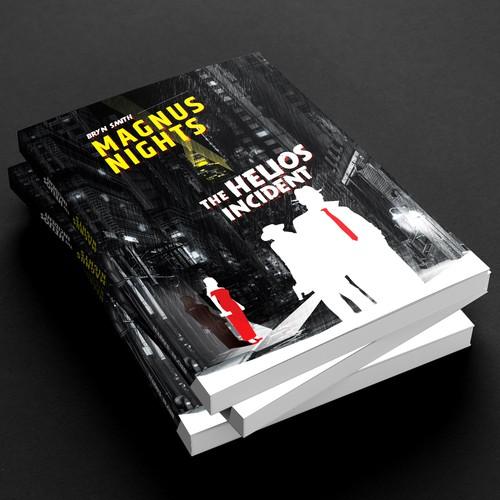 Design cover for a sci-fi noir novel
