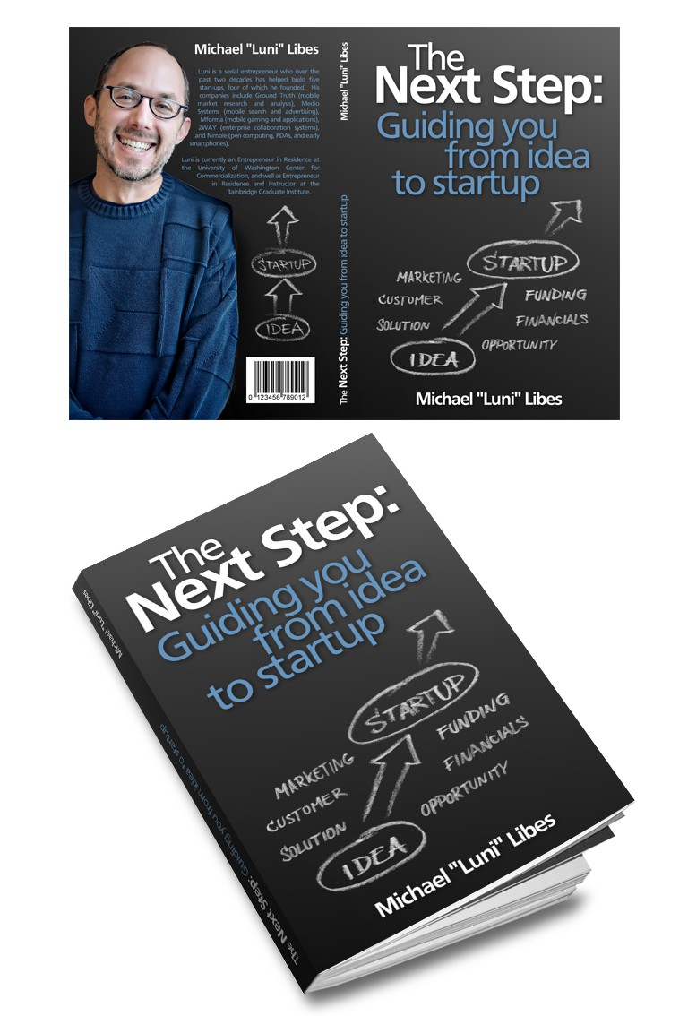 """Creative book cover for """"The Next Step: Guiding you from idea to startup"""""""