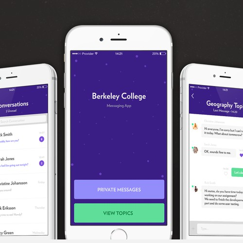 Create an awesome design for our messaging/chatroom app!