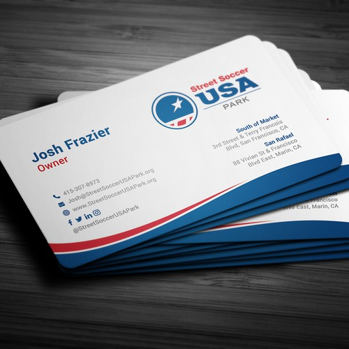 Modern business card design for Street Coccer USA Park