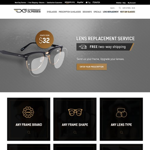 Overnight Glasses Landing page design