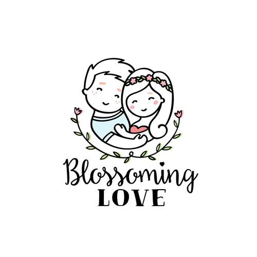 Playful logo design for E-commerce store Blossoming Love.