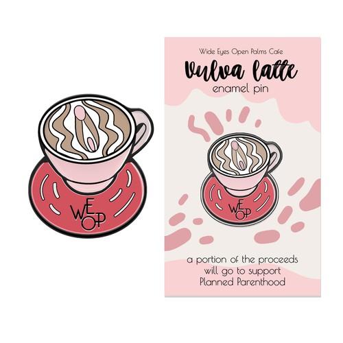 Enamel pin Vulva latte
