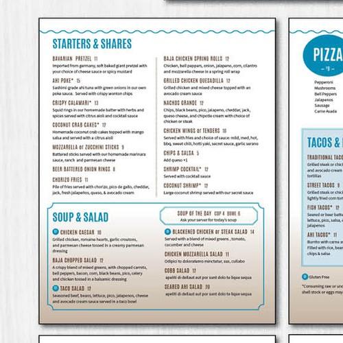 Upscale menu for beach themed restaurant