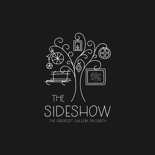 Logo for The Sideshow - a whimsical art gallery