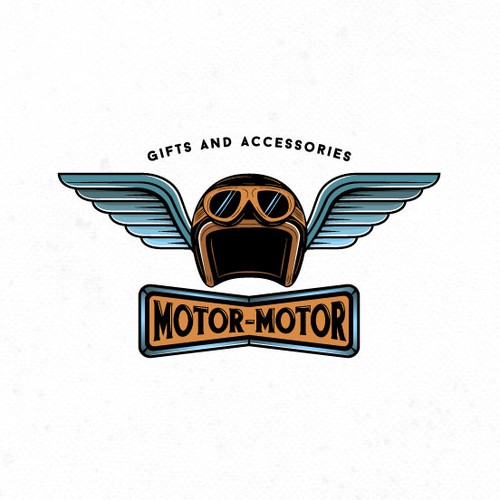Vintage logo for a motorcycle accessories retail shop.