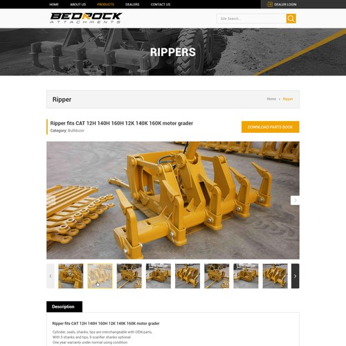 Original website for BEDROCK heavy machinery - Product Detail Page