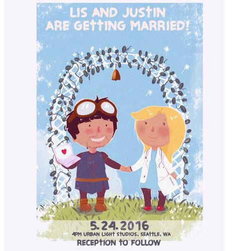 wedding card invitation illustration