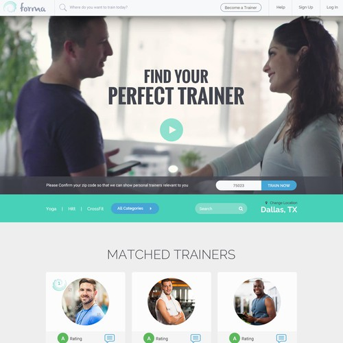 Website for Find Personal Trainer App