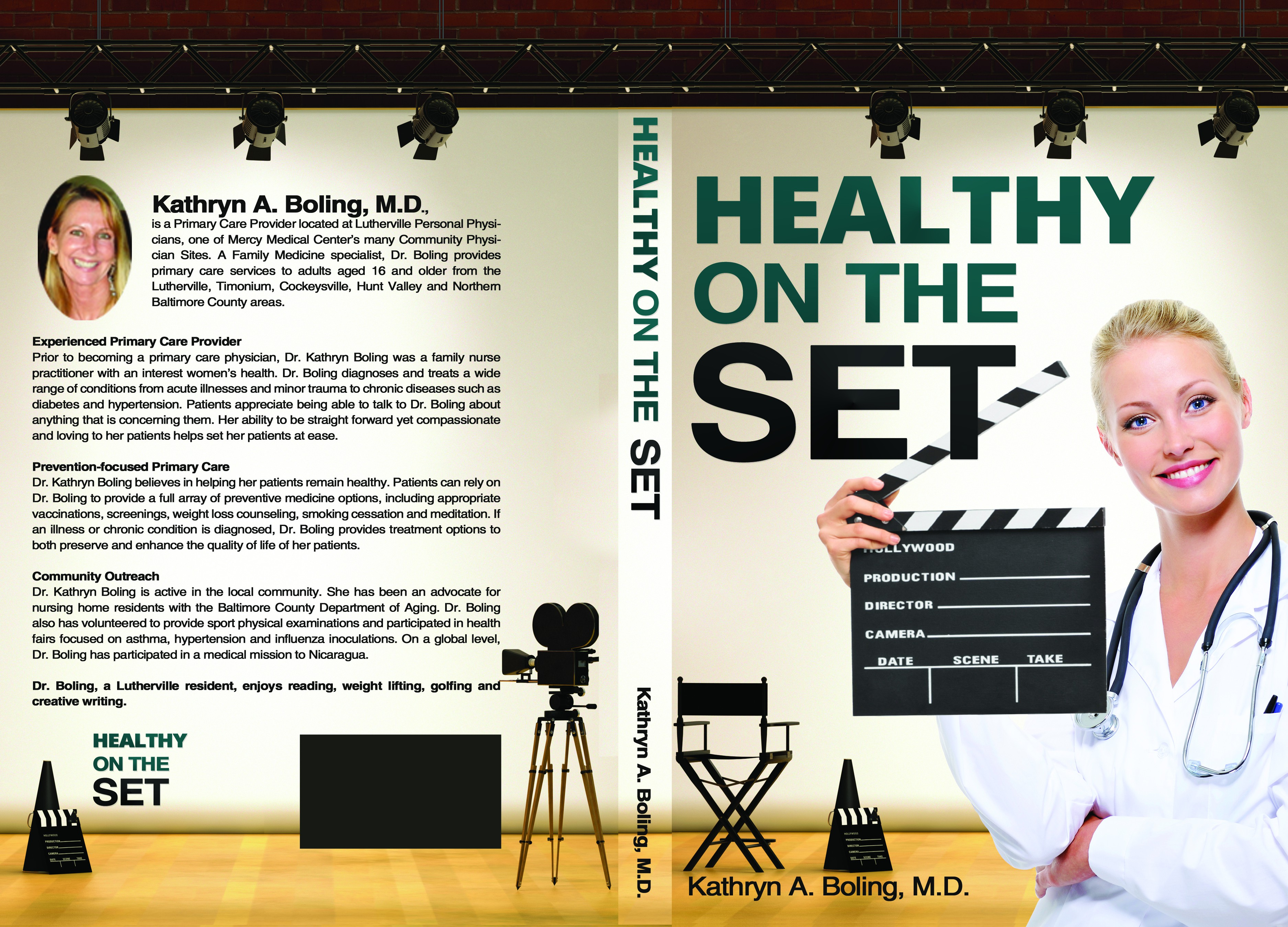 Create a cover for a book on staying healthy on a tv or film production set