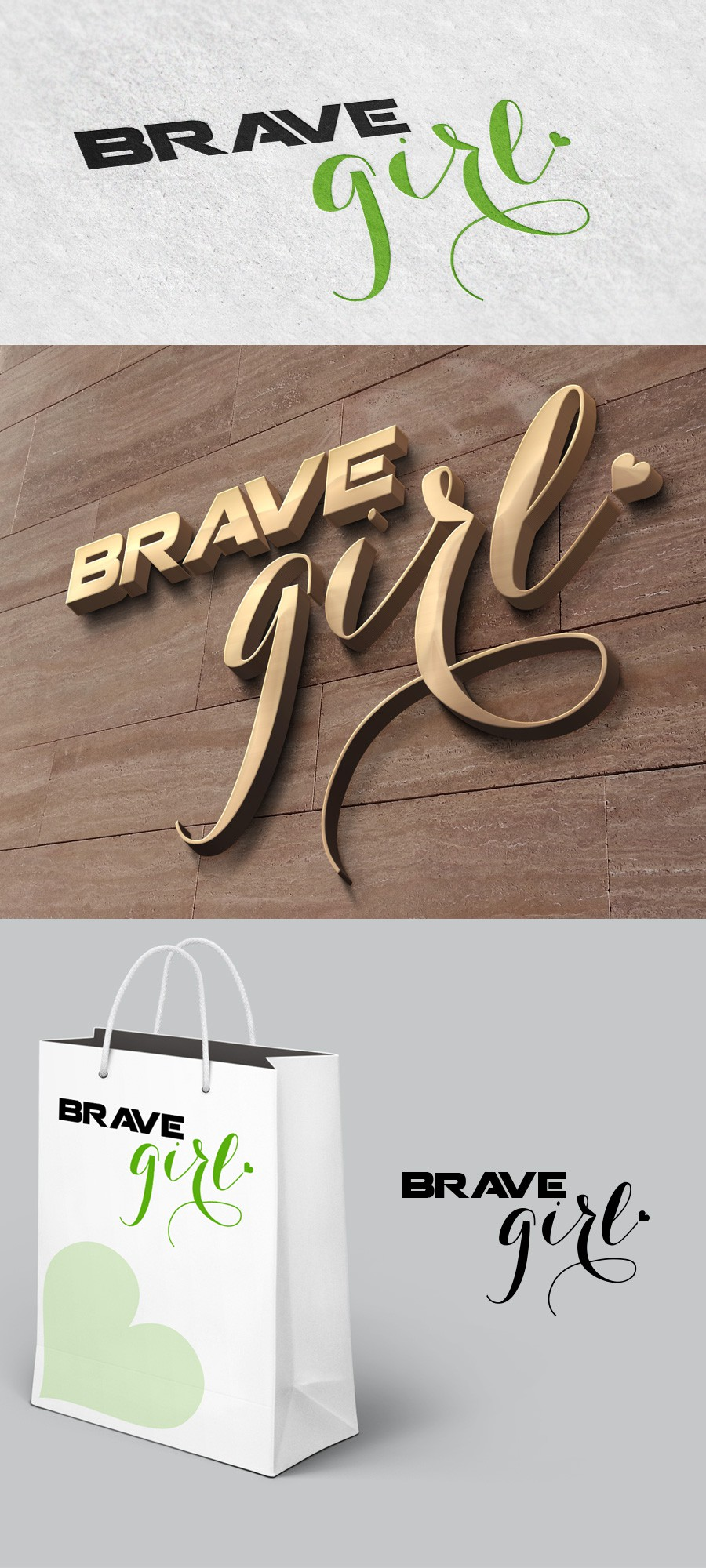 Create a logo for women that represents the Strength and Softness of a BRAVE GIRL