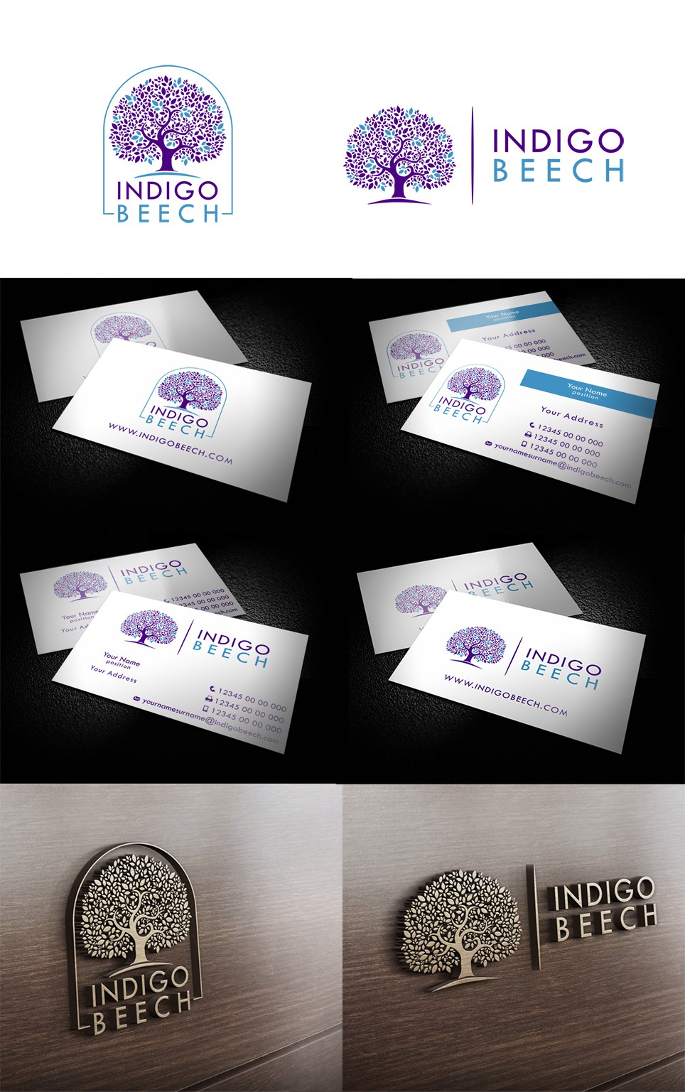 Clean, modern business cards and logo for Indigo Beech consultancy - guaranteed payout