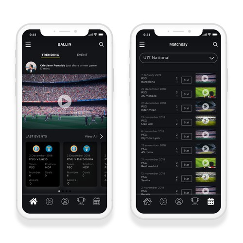 Soccer's Player App concept