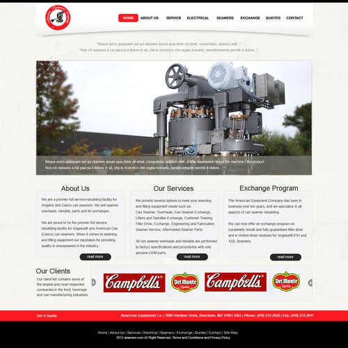 Create the next website design for American Equipment Company