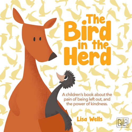 Children's book cover/ kangaroo and emu