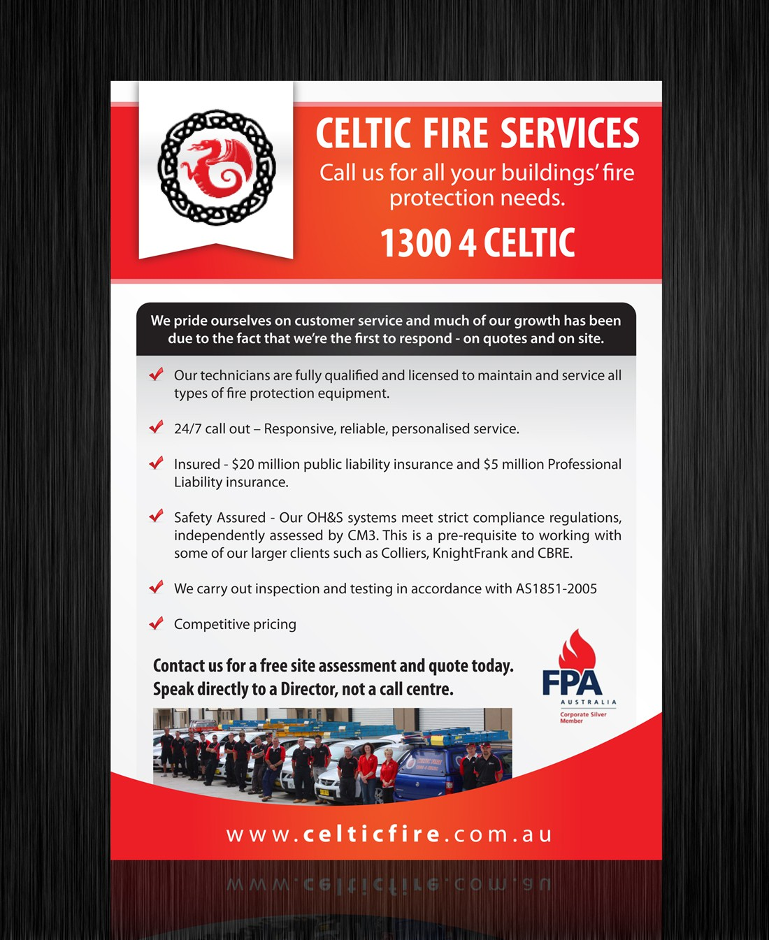 print or packaging design for Celtic Fire Services