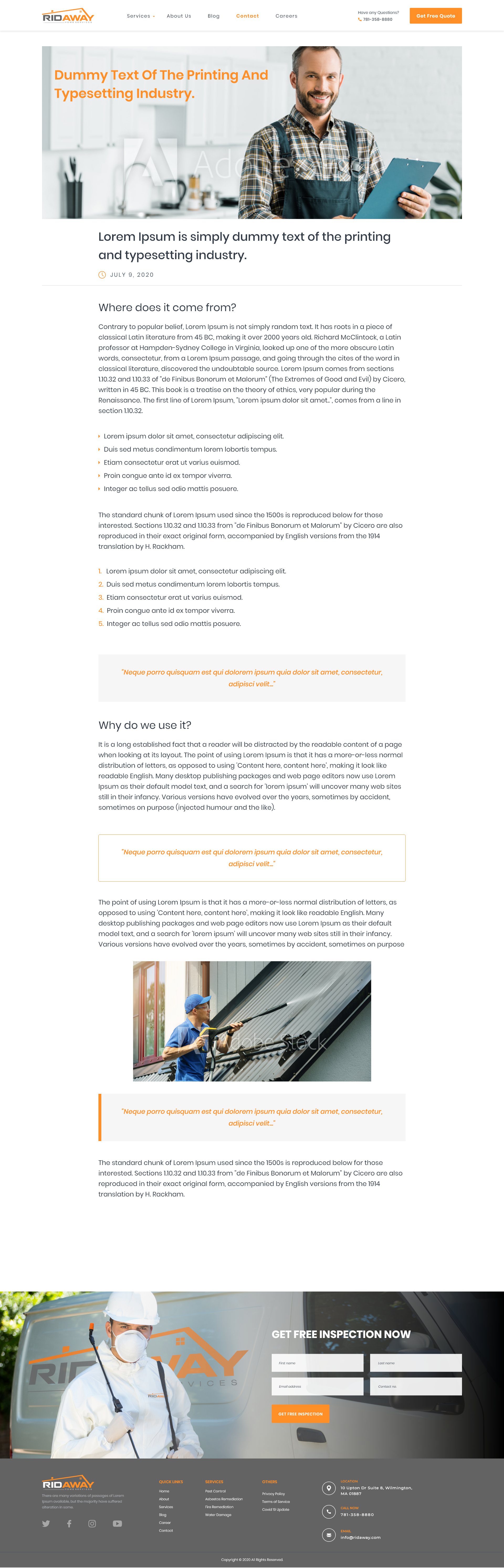 Pest & remediation web page design for remaining website pages