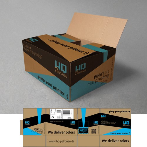 Shipping packages which keep in mind! Creative design on HQ-Patronen shipping packages