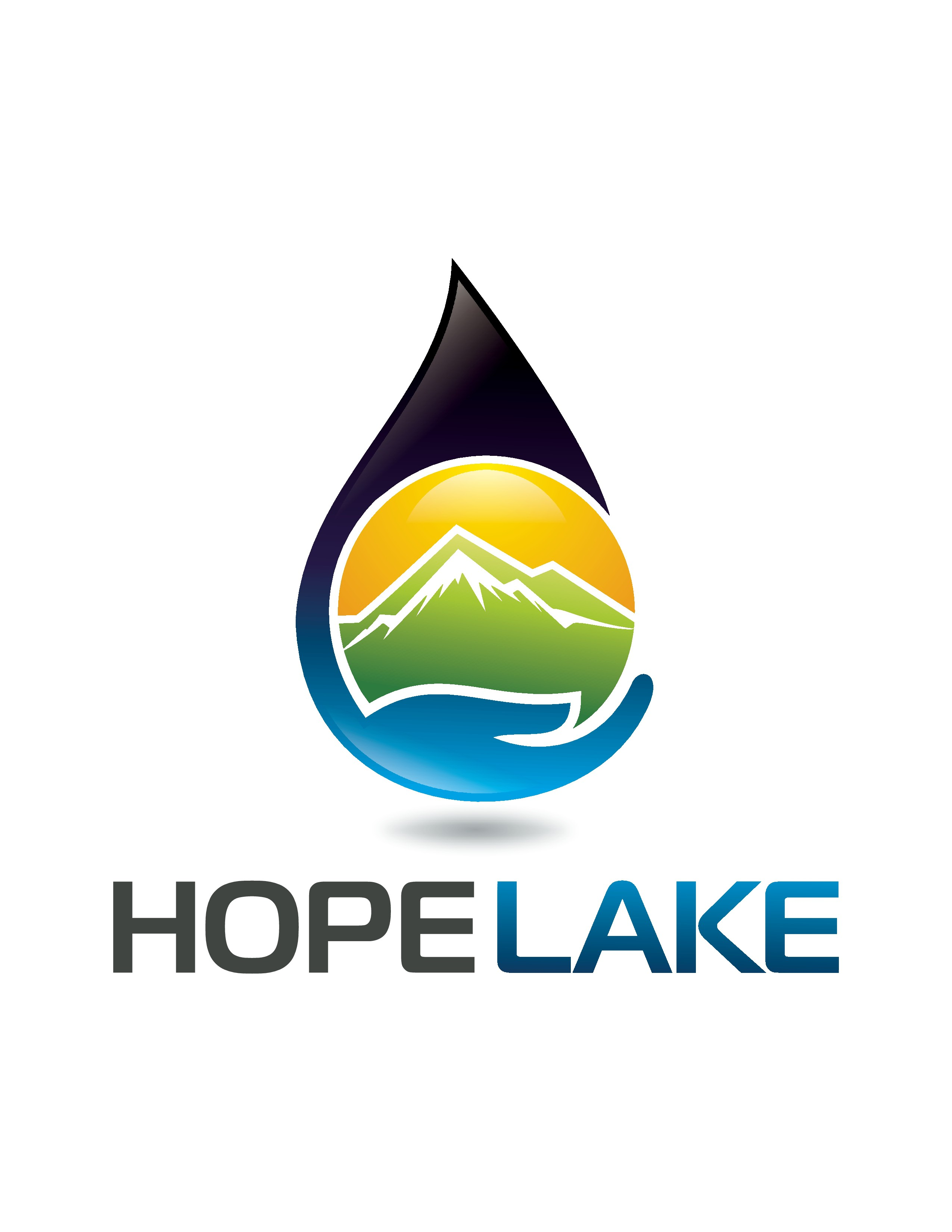 Create a logo using an oil drop, earth, and the words HOPELAKE (no space in it)