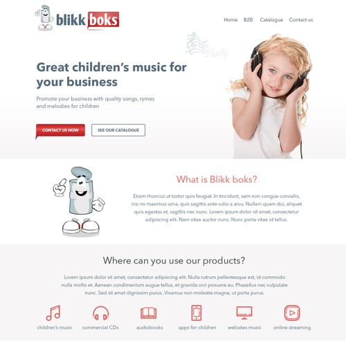Webpage for a record company for children music /apps