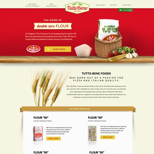 Create a retro website for Tutto Bene Foods