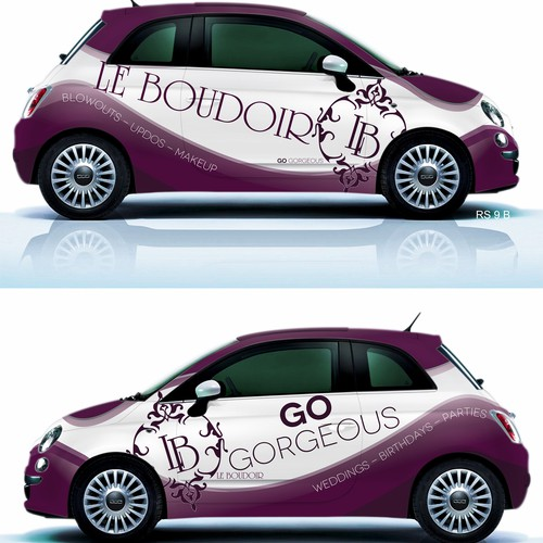 Luxurious car wrap for mobile beauty services