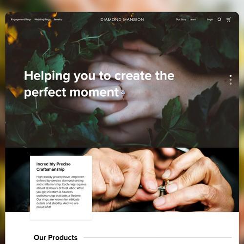 Concept for wedding jewelry website