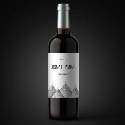 Label for Cosma e Damiano, Italian wine from Puglia