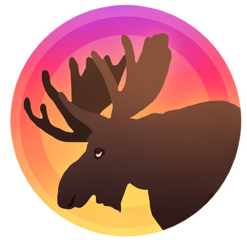 moose, sunset themed design