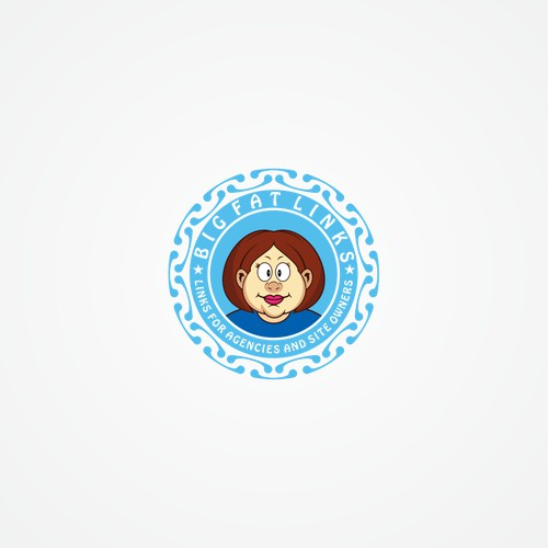 Badge Style logo featuring cartoon fat woman