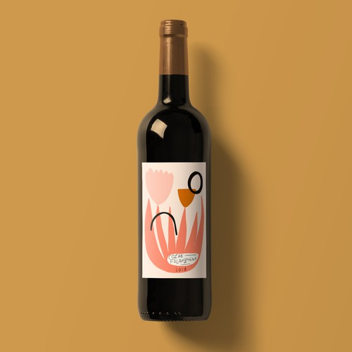 Abstract Floral Wine Bottle Label