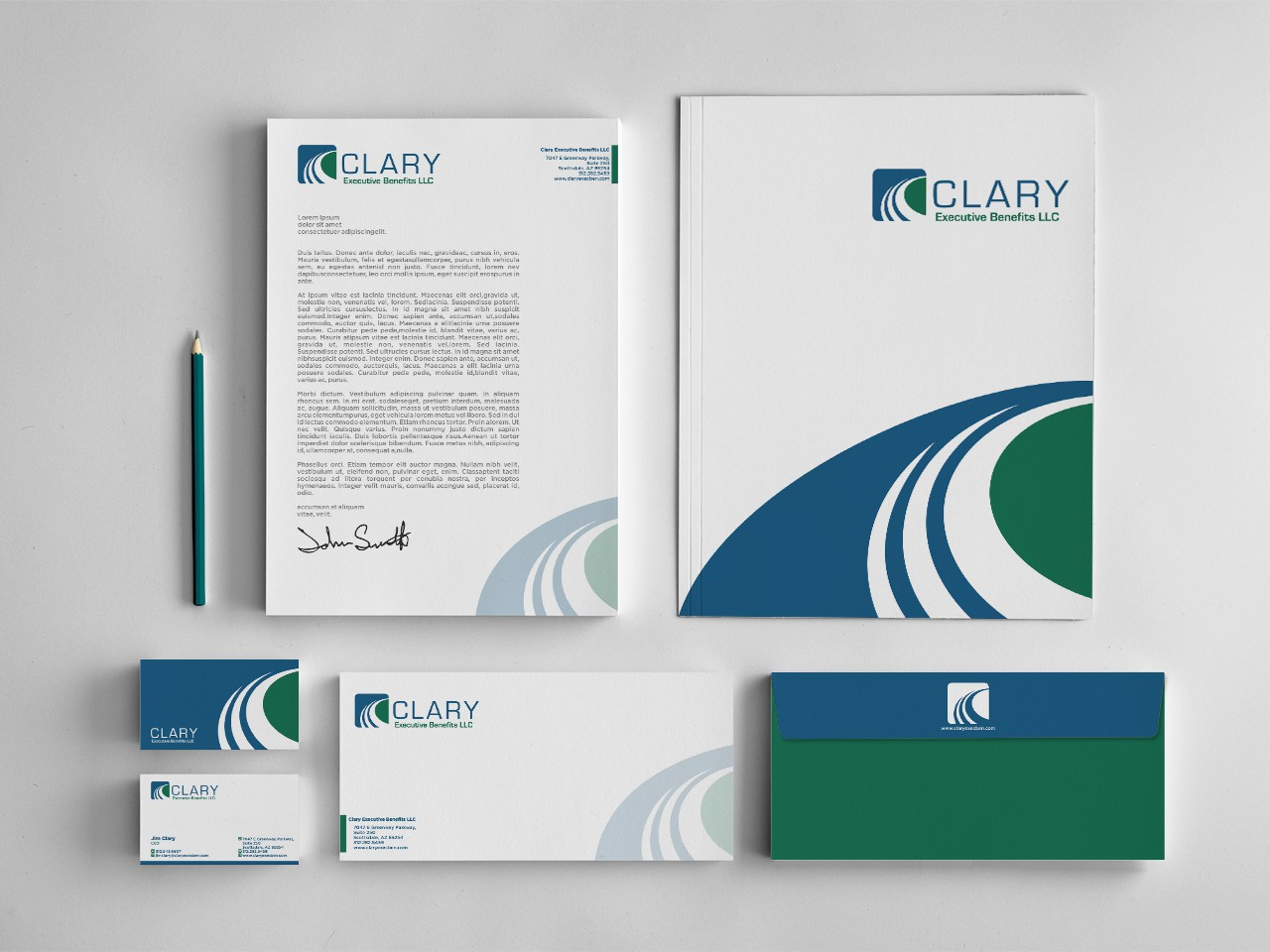 logo and business card for Clary Executive Benefits LLC