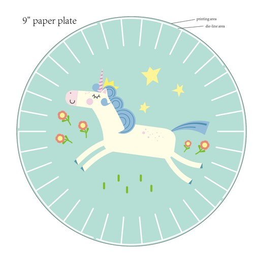 Design pretty Unicorn girls partyware