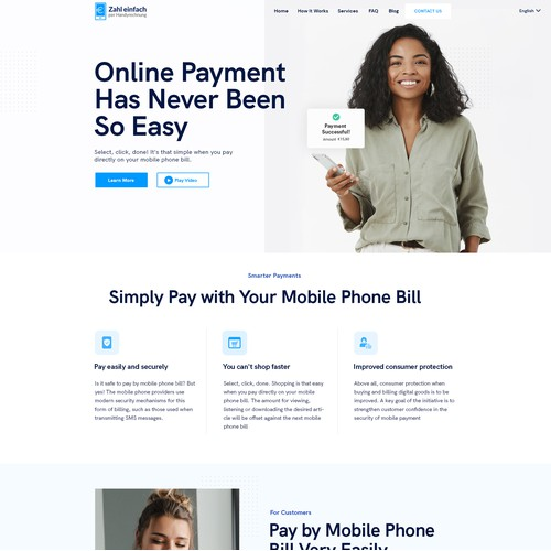 Modern web design for a new payment service for the Austrian mobile operators!