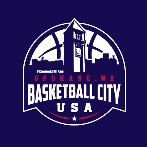 Basketball association logo for Basketball City, U.S.A. Spokane, WA