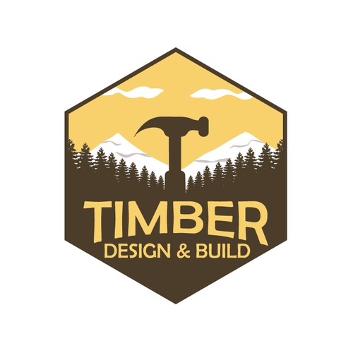 Hexagon shaped vintage logo for bespoke timber design build