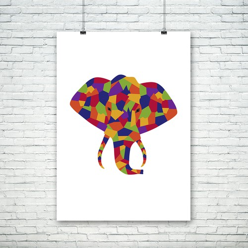 Colorful interpretation of African elephant