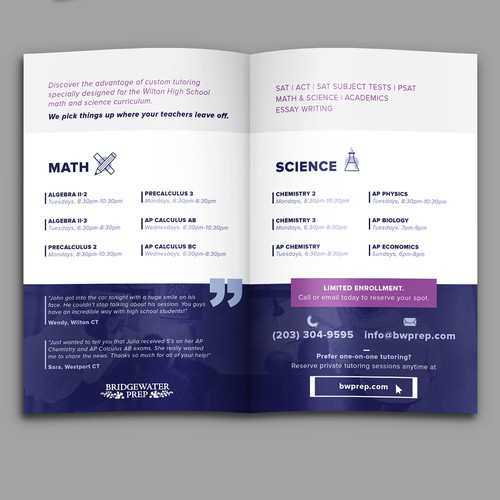 Clean bifold brochure for students
