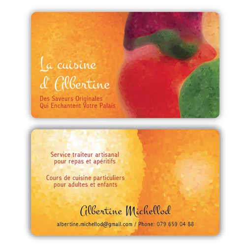 A spicy business card for Albertine's spicy cooking