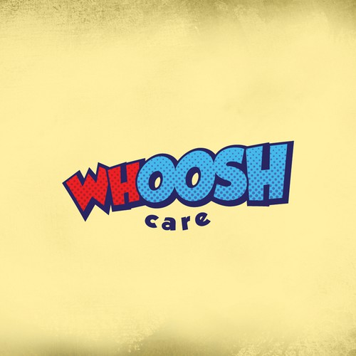 a modern and funky eye catching way to write WHOOSH for an after school care business
