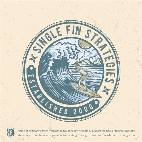 Vintage Surf-themed sales company logo